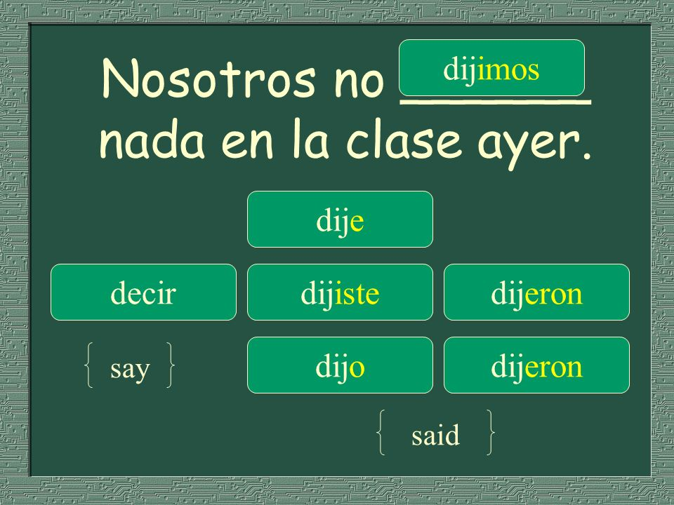 Nosotros no ______ nada en la clase ayer.