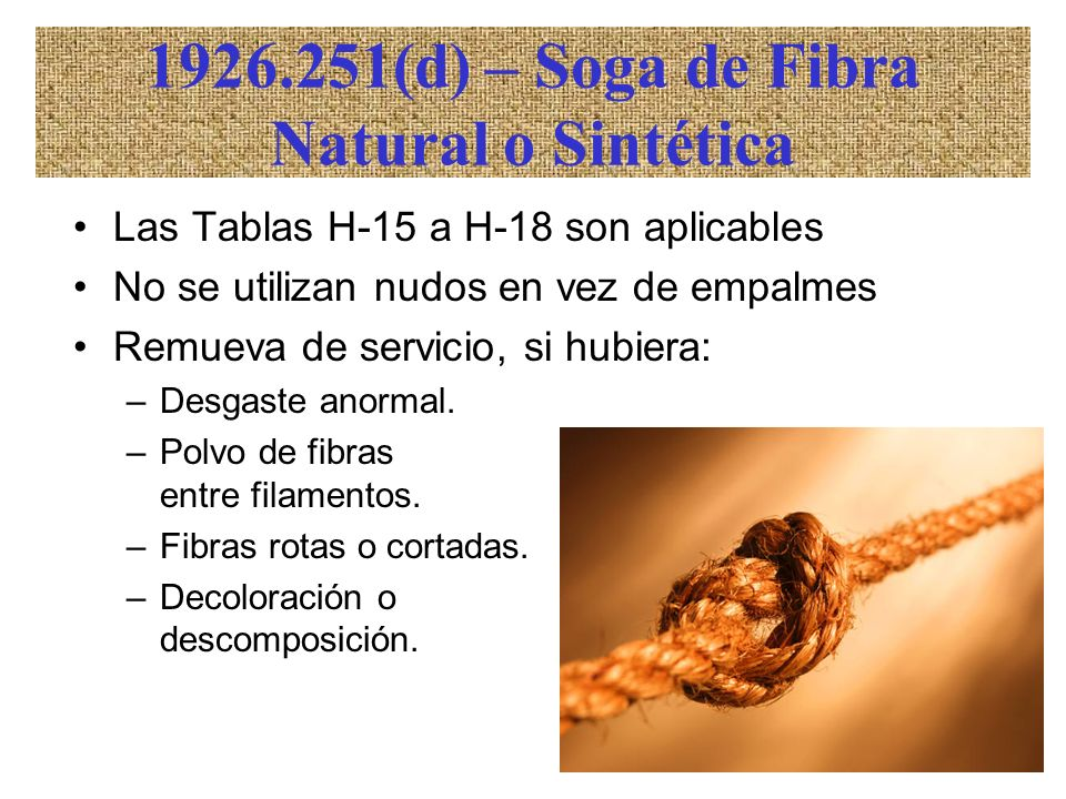 1926.251(d) – Soga de Fibra Natural o Sintética