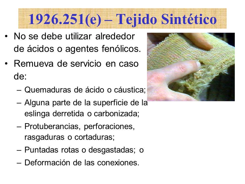 1926.251(e) – Tejido SintéticoNo se debe utilizar alrededor de ácidos o agentes fenólicos. Remueva de servicio en caso de: