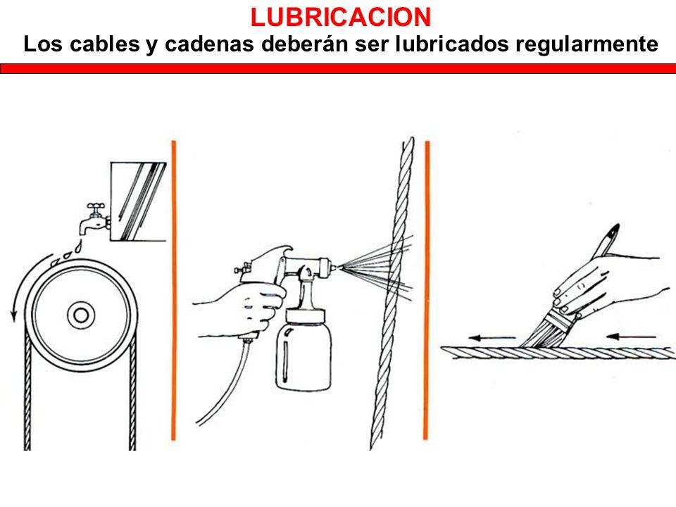 Los cables y cadenas deberán ser lubricados regularmente