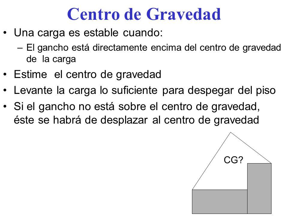 Centro de Gravedad Una carga es estable cuando:
