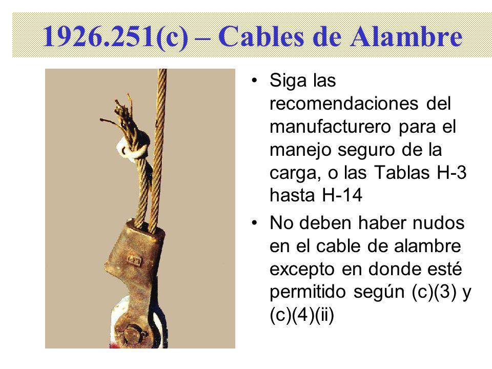 1926.251(c) – Cables de Alambre Siga las recomendaciones del manufacturero para el manejo seguro de la carga, o las Tablas H-3 hasta H-14.