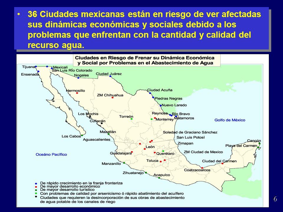 36 Ciudades mexicanas están en riesgo de ver afectadas sus dinámicas económicas y sociales debido a los problemas que enfrentan con la cantidad y calidad del recurso agua.