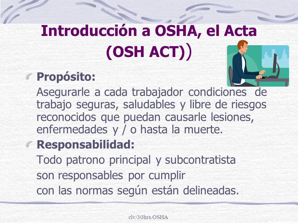 Introducción a OSHA, el Acta (OSH ACT))
