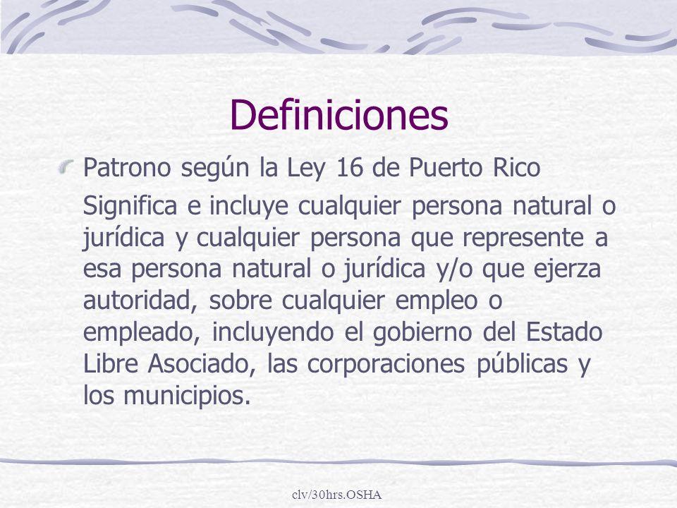 Definiciones Patrono según la Ley 16 de Puerto Rico
