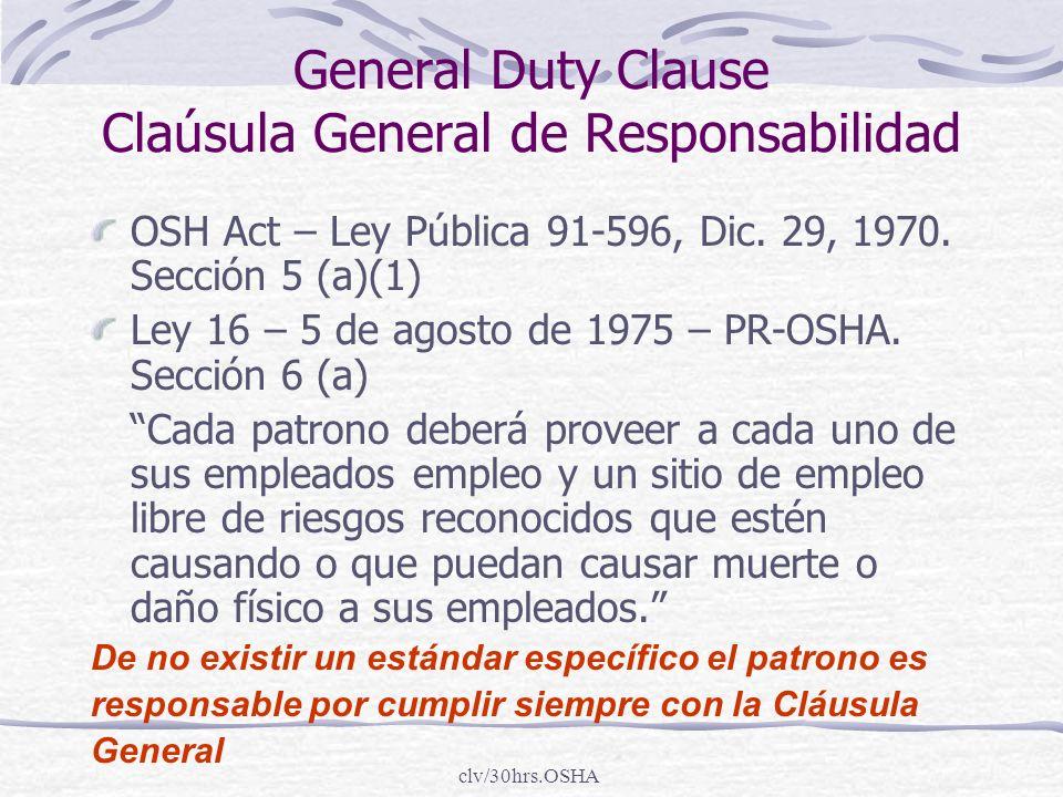 General Duty Clause Claúsula General de Responsabilidad