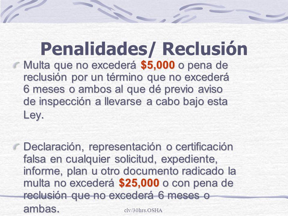 Penalidades/ Reclusión