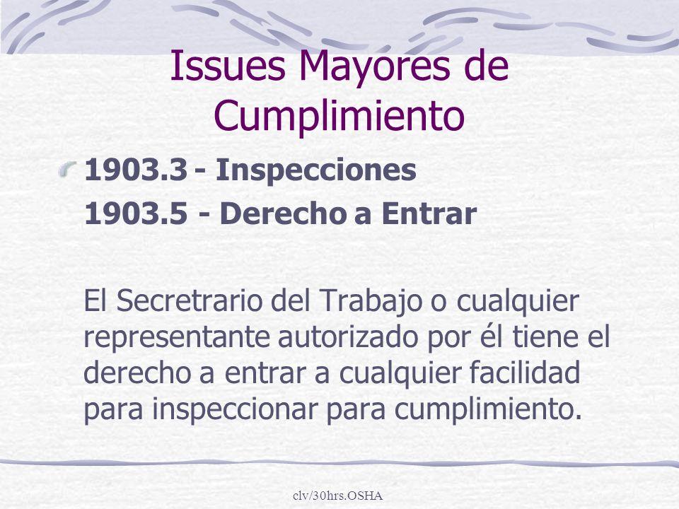 Issues Mayores de Cumplimiento