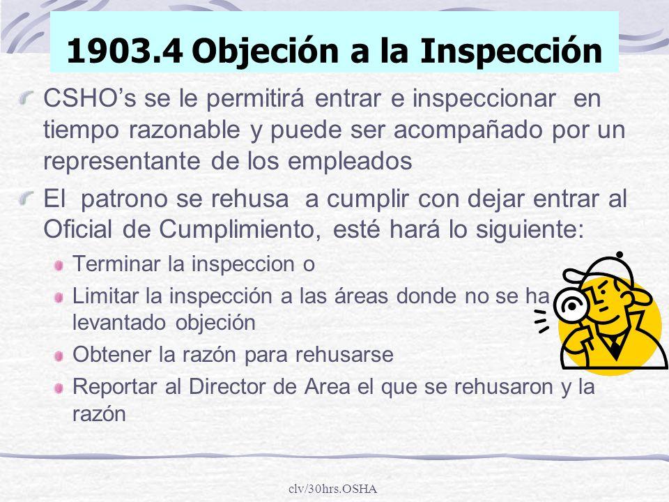 1903.4 Objeción a la Inspección