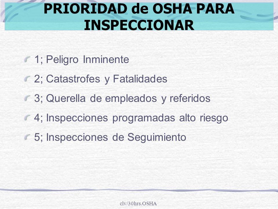 PRIORIDAD de OSHA PARA INSPECCIONAR