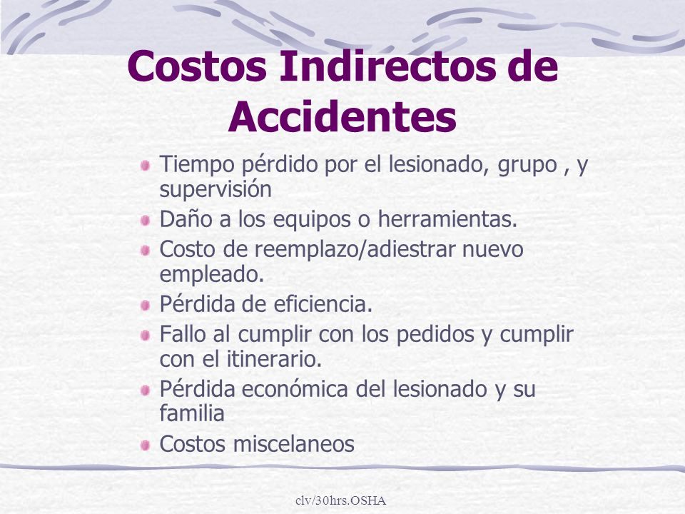 Costos Indirectos de Accidentes
