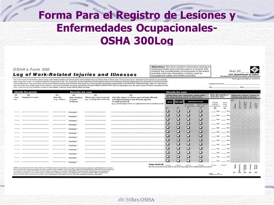 Forma Para el Registro de Lesiones y Enfermedades Ocupacionales- OSHA 300Log