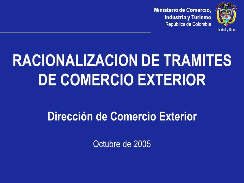 RACIONALIZACION DE TRAMITES Dirección de Comercio Exterior