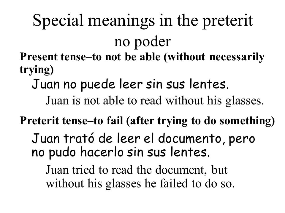 Special meanings in the preterit