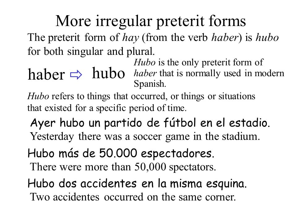 More irregular preterit forms