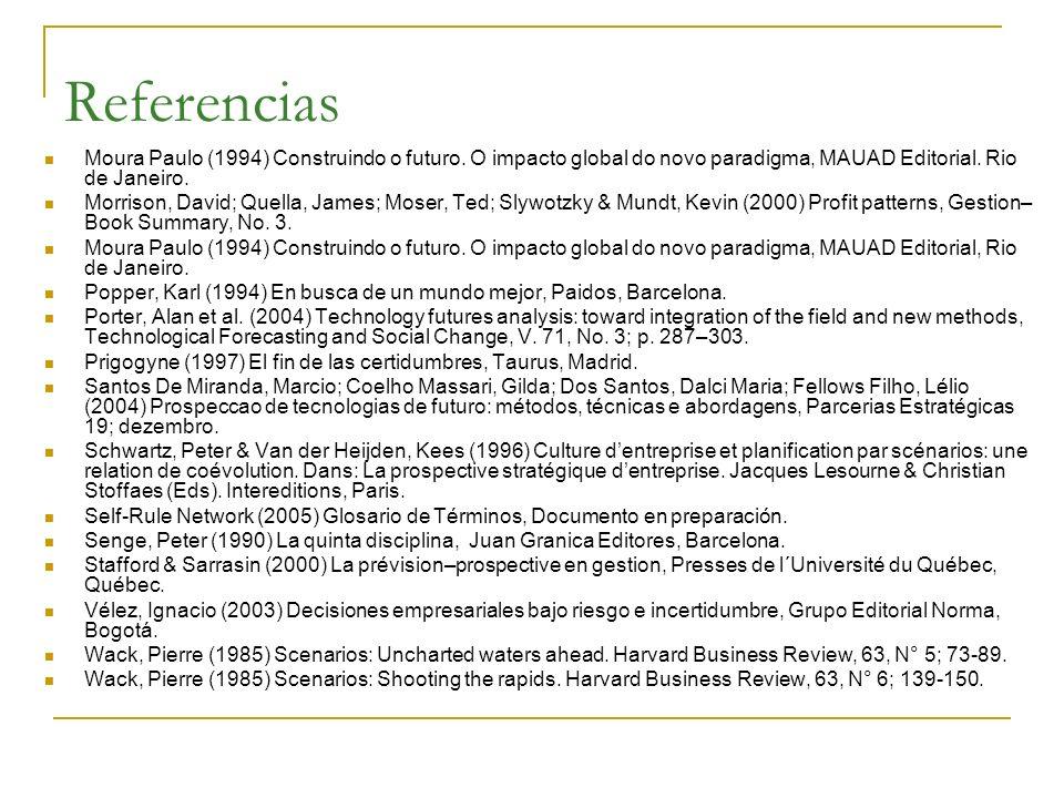 Referencias Moura Paulo (1994) Construindo o futuro. O impacto global do novo paradigma, MAUAD Editorial. Rio de Janeiro.