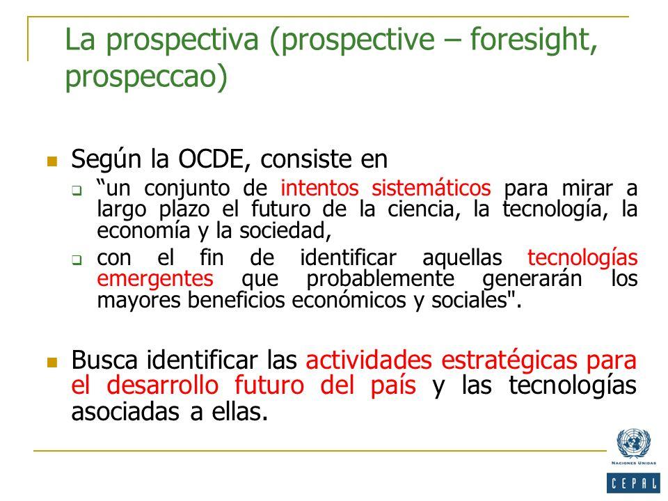 La prospectiva (prospective – foresight, prospeccao)