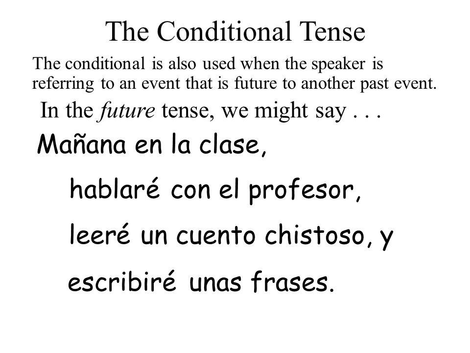 The Conditional Tense Mañana en la clase, hablar é con el profesor,