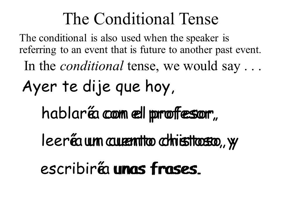 The Conditional Tense Ayer te dije que hoy, hablar ía con el profesor,