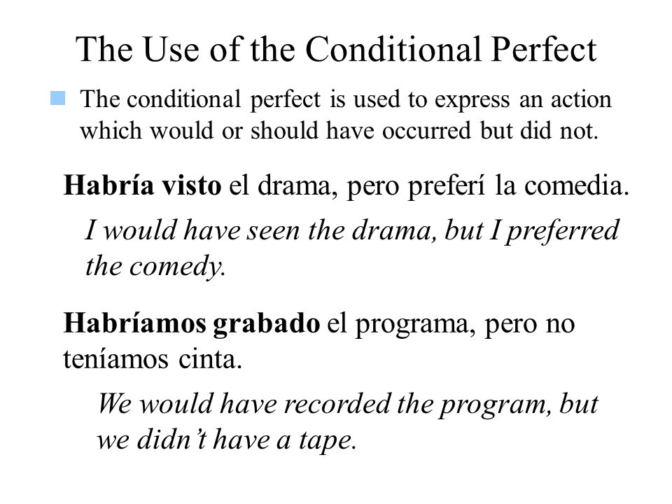 The Use of the Conditional Perfect