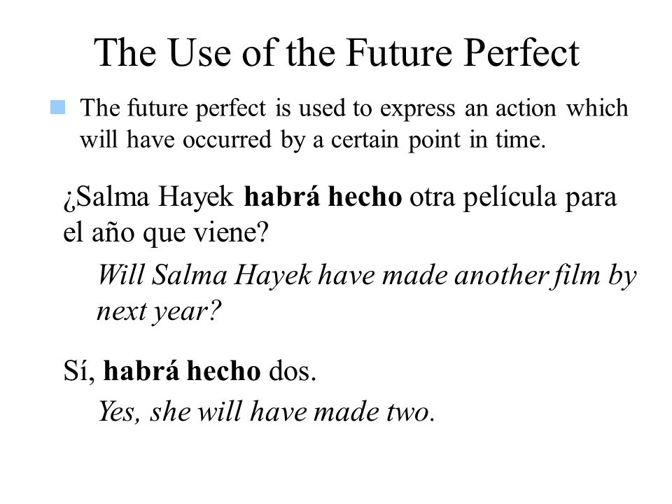 The Use of the Future Perfect