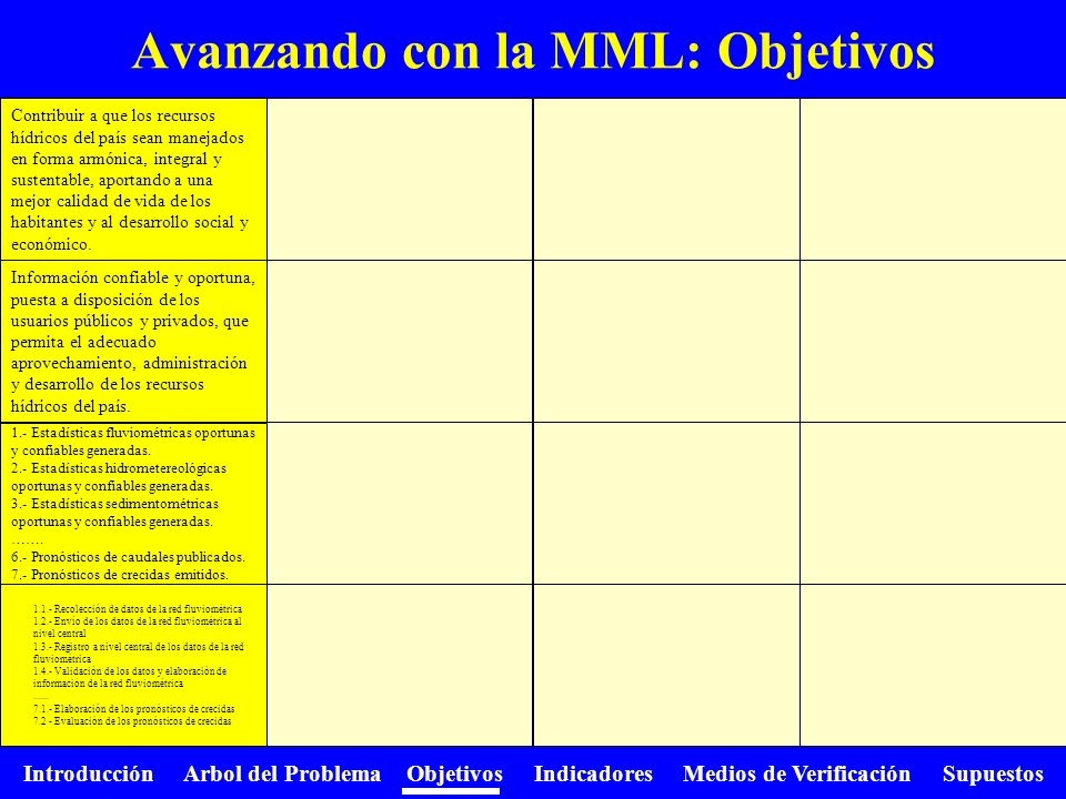 Avanzando con la MML: Objetivos
