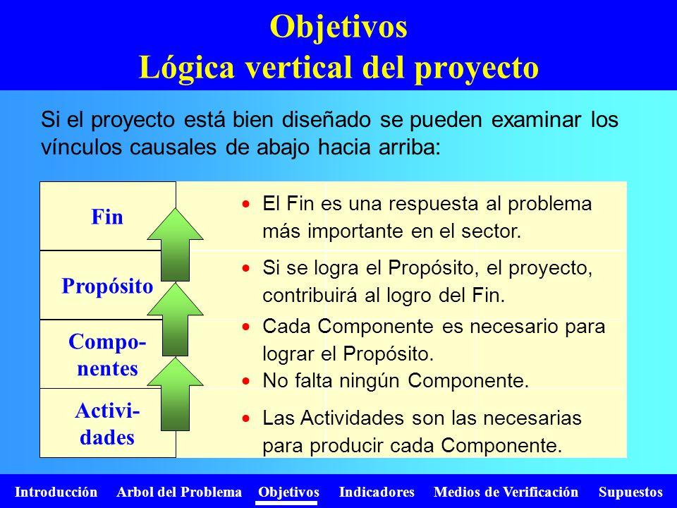 Objetivos Lógica vertical del proyecto