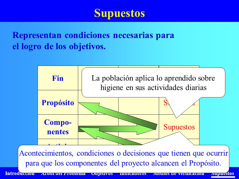Supuestos Representan condiciones necesarias para el logro de los objetivos. Supuestos. Fin. Propósito.