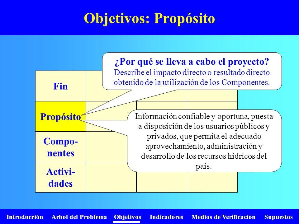 Objetivos: Propósito ¿Por qué se lleva a cabo el proyecto Fin