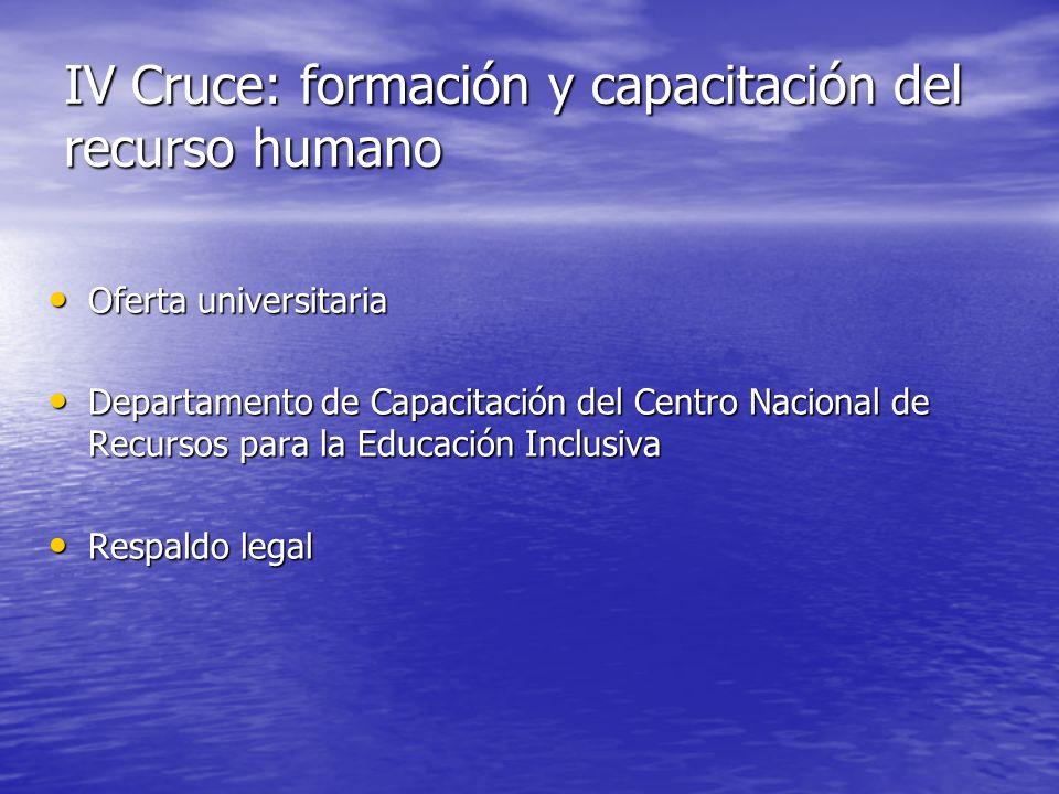 IV Cruce: formación y capacitación del recurso humano