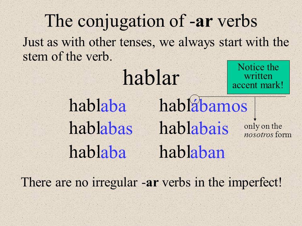 hablar The conjugation of -ar verbs habl aba habl ábamos habl abas