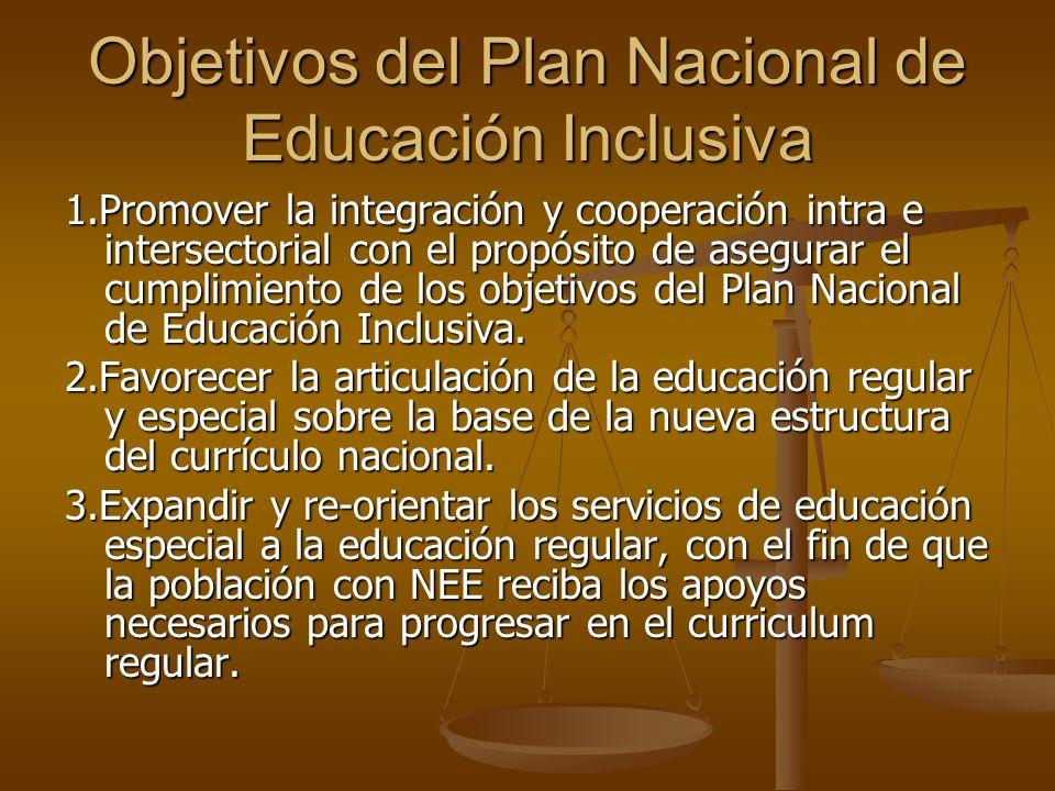 Objetivos del Plan Nacional de Educación Inclusiva