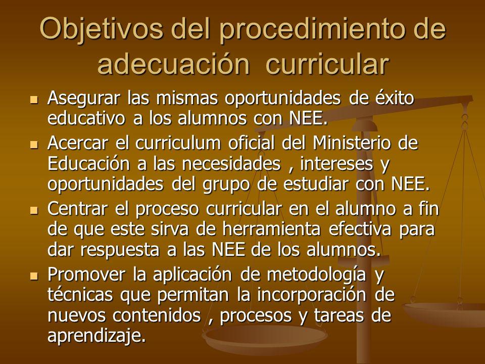 Objetivos del procedimiento de adecuación curricular