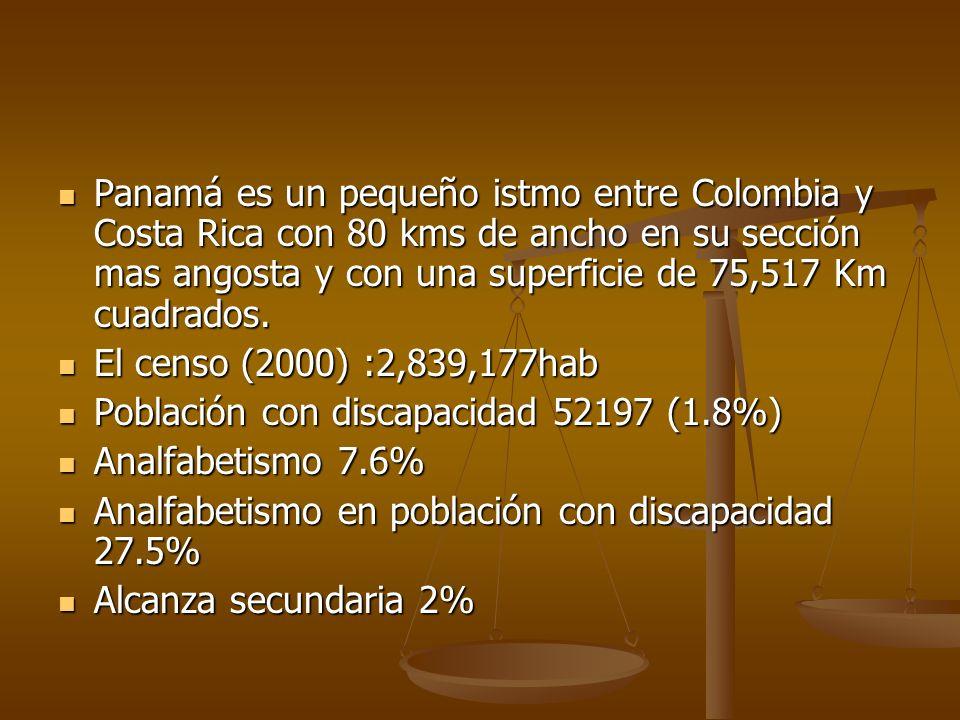 Panamá es un pequeño istmo entre Colombia y Costa Rica con 80 kms de ancho en su sección mas angosta y con una superficie de 75,517 Km cuadrados.