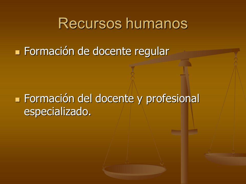 Recursos humanos Formación de docente regular