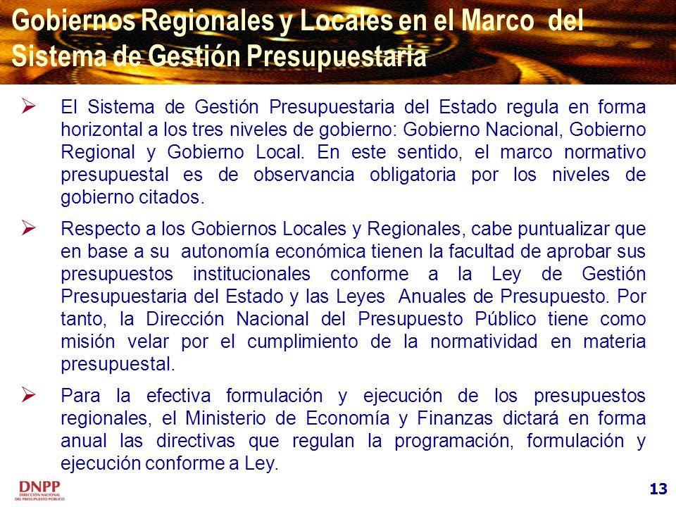 Gobiernos Regionales y Locales en el Marco del Sistema de Gestión Presupuestaria