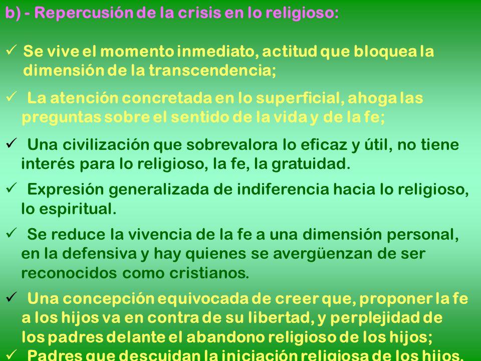 b) - Repercusión de la crisis en lo religioso: