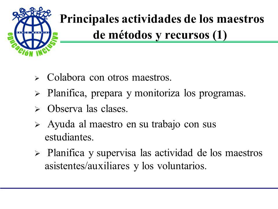 Principales actividades de los maestros de métodos y recursos (1)