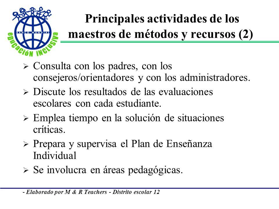 Principales actividades de los maestros de métodos y recursos (2)