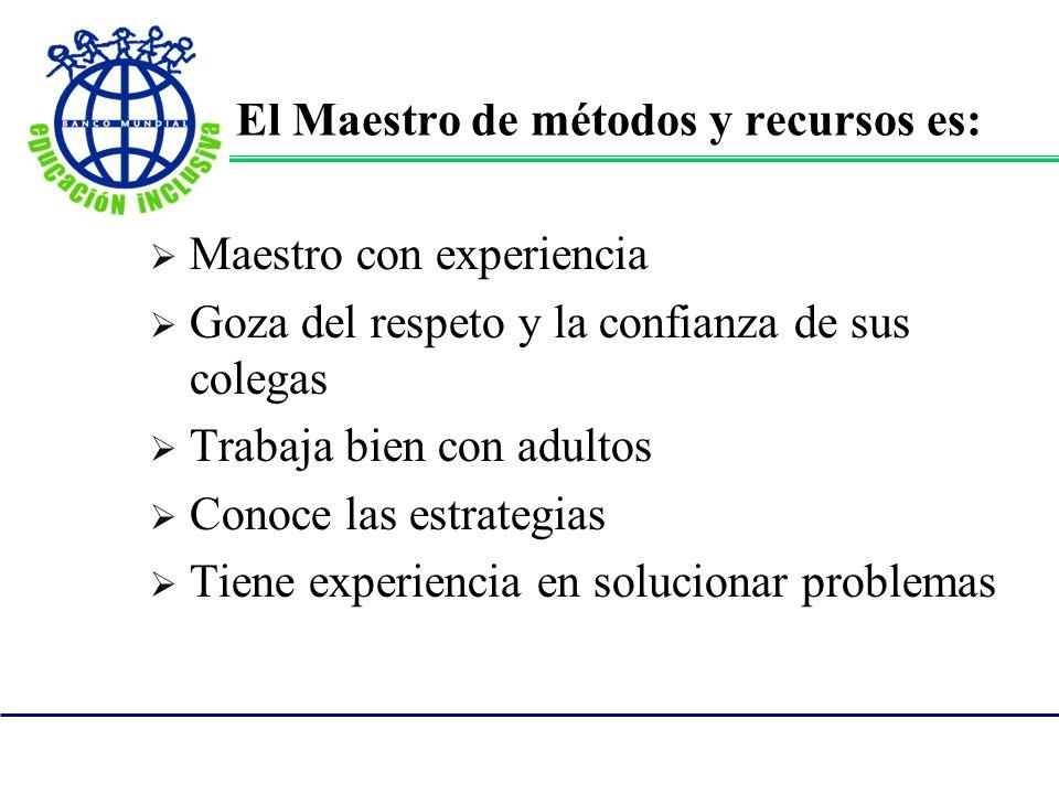 El Maestro de métodos y recursos es: