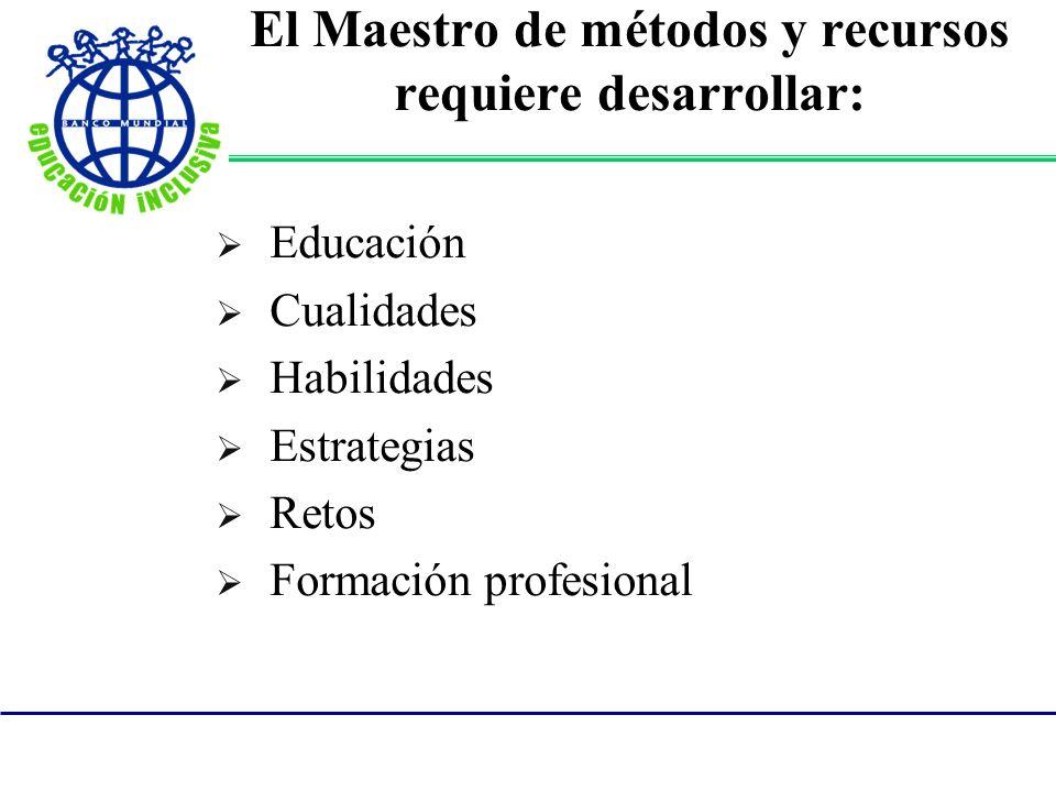 El Maestro de métodos y recursos requiere desarrollar:
