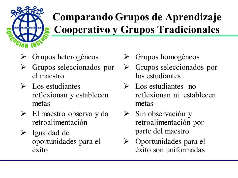 Comparando Grupos de Aprendizaje Cooperativo y Grupos Tradicionales