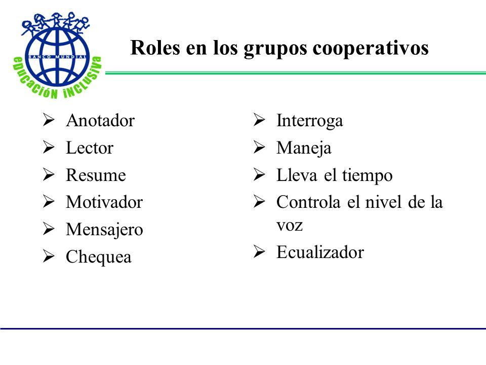 Roles en los grupos cooperativos