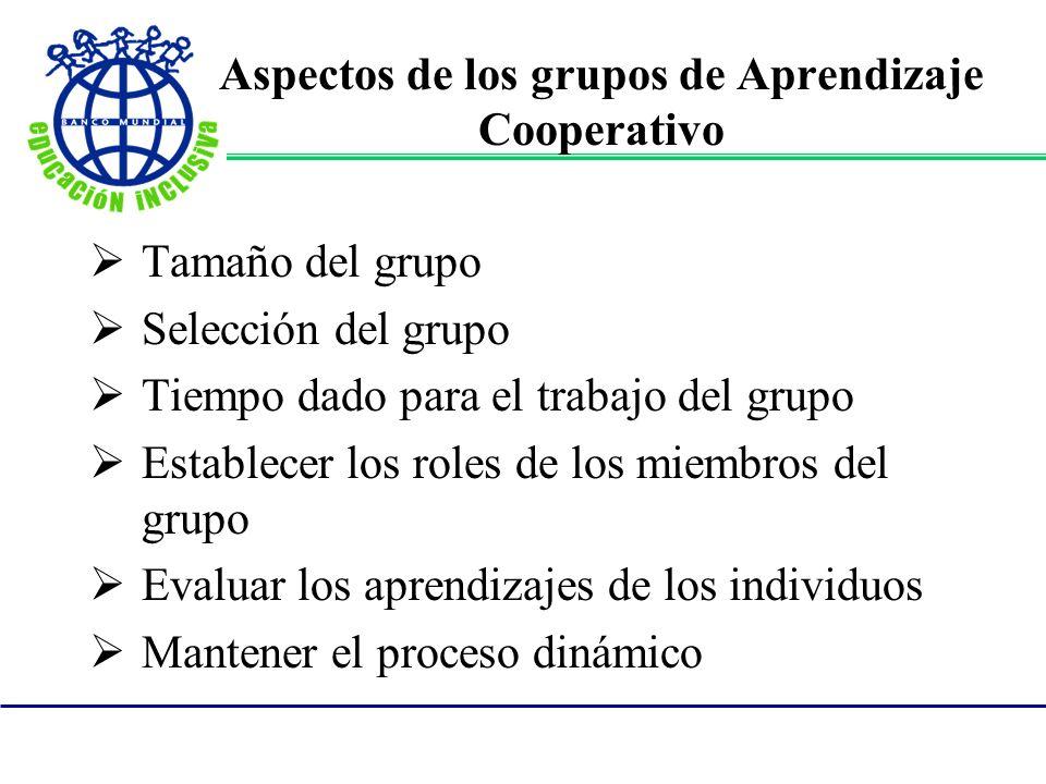 Aspectos de los grupos de Aprendizaje Cooperativo