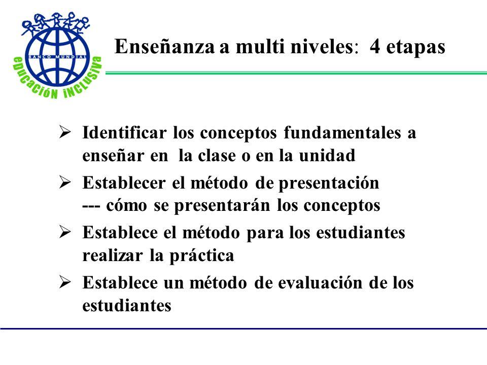 Enseñanza a multi niveles: 4 etapas