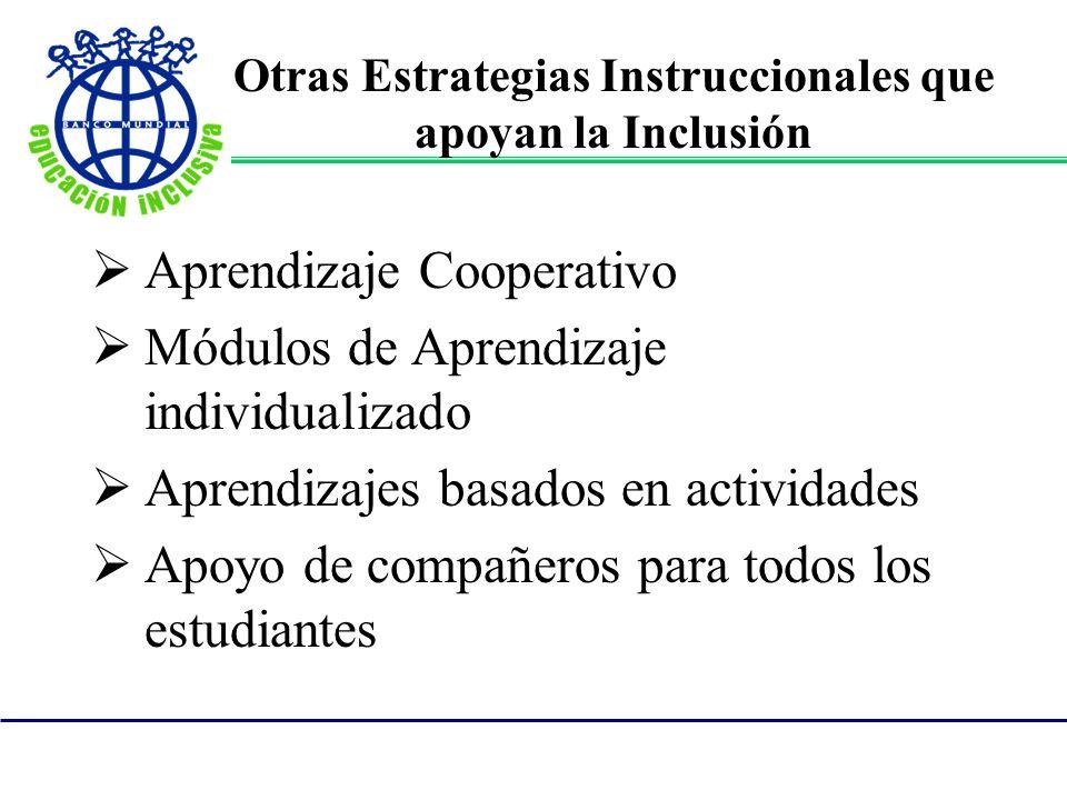 Otras Estrategias Instruccionales que apoyan la Inclusión