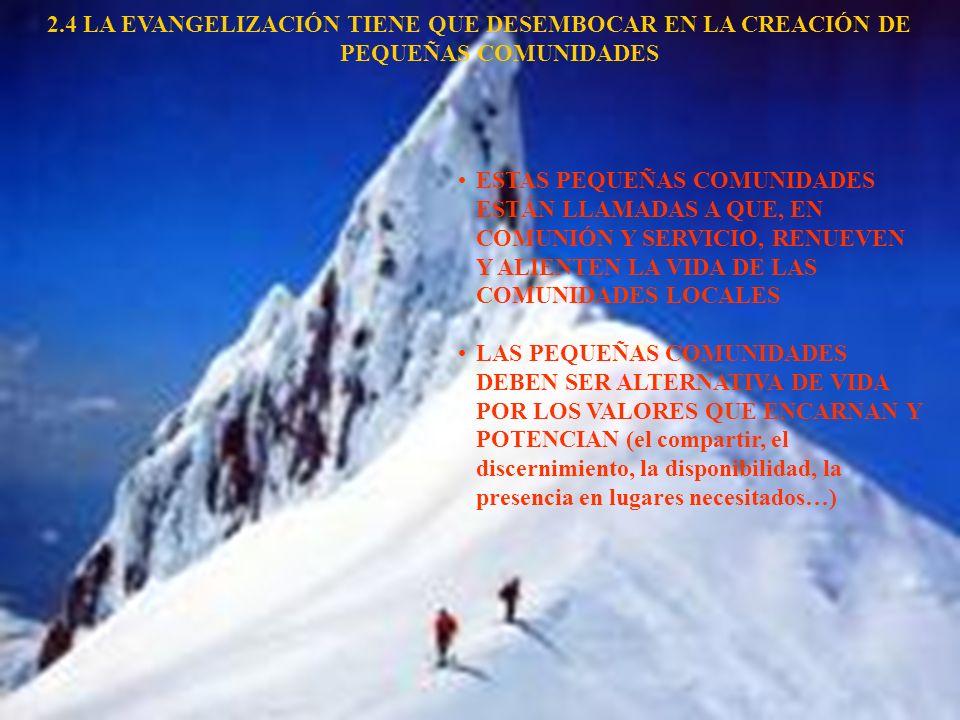 2.4 LA EVANGELIZACIÓN TIENE QUE DESEMBOCAR EN LA CREACIÓN DE PEQUEÑAS COMUNIDADES