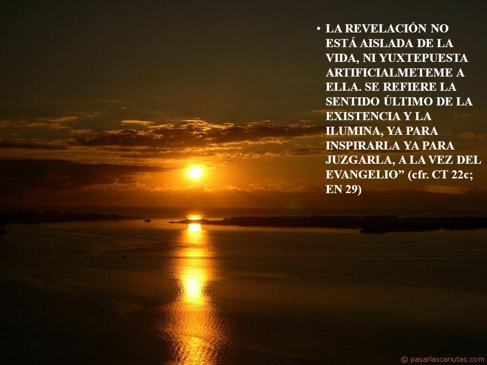 LA REVELACIÓN NO ESTÁ AISLADA DE LA VIDA, NI YUXTEPUESTA ARTIFICIALMETEME A ELLA.