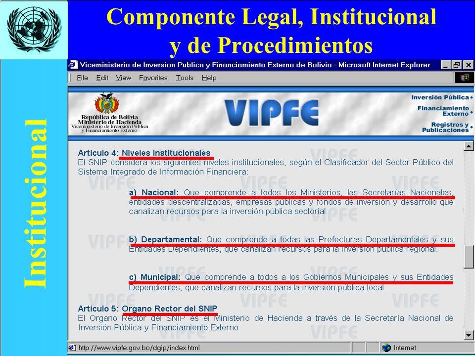 Componente Legal, Institucional y de Procedimientos