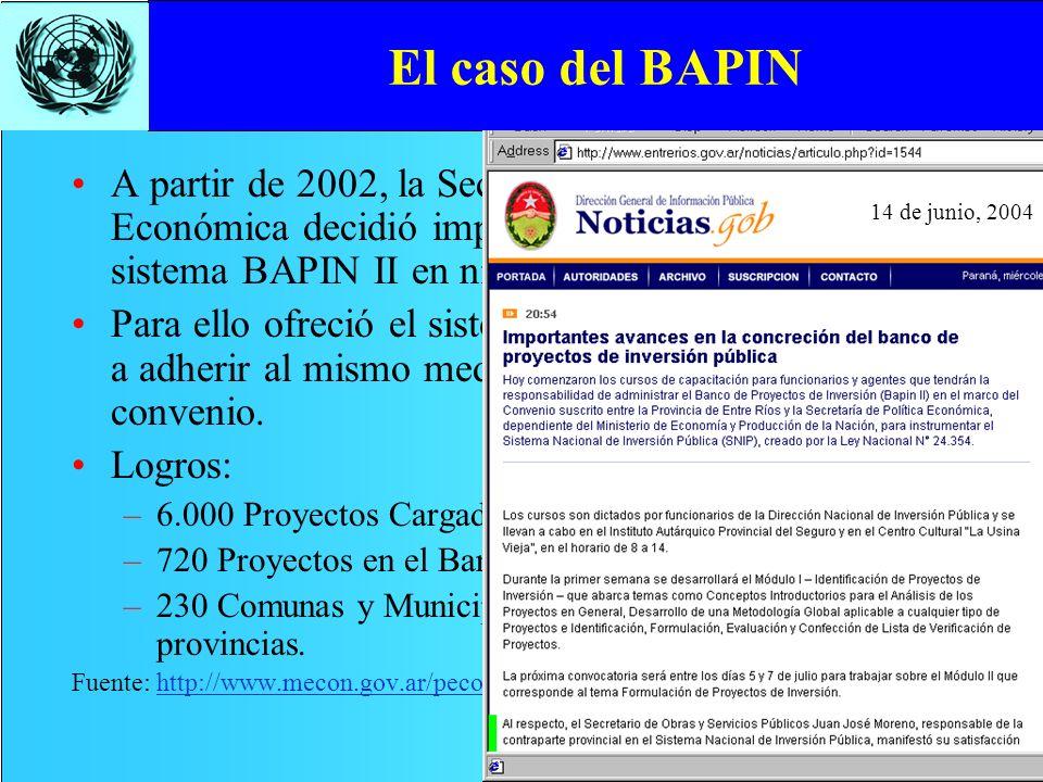 El caso del BAPIN 14 de junio, 2004.